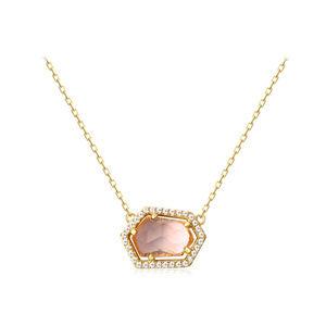 Rose Quartz Pendant Blue Topaz Necklace silver